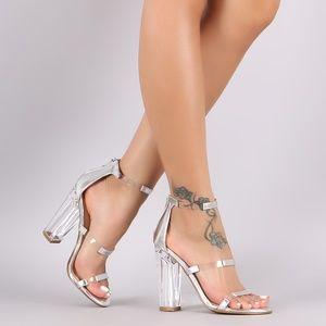 NWT{Bamboo} Dressy Clear/Silver Heels